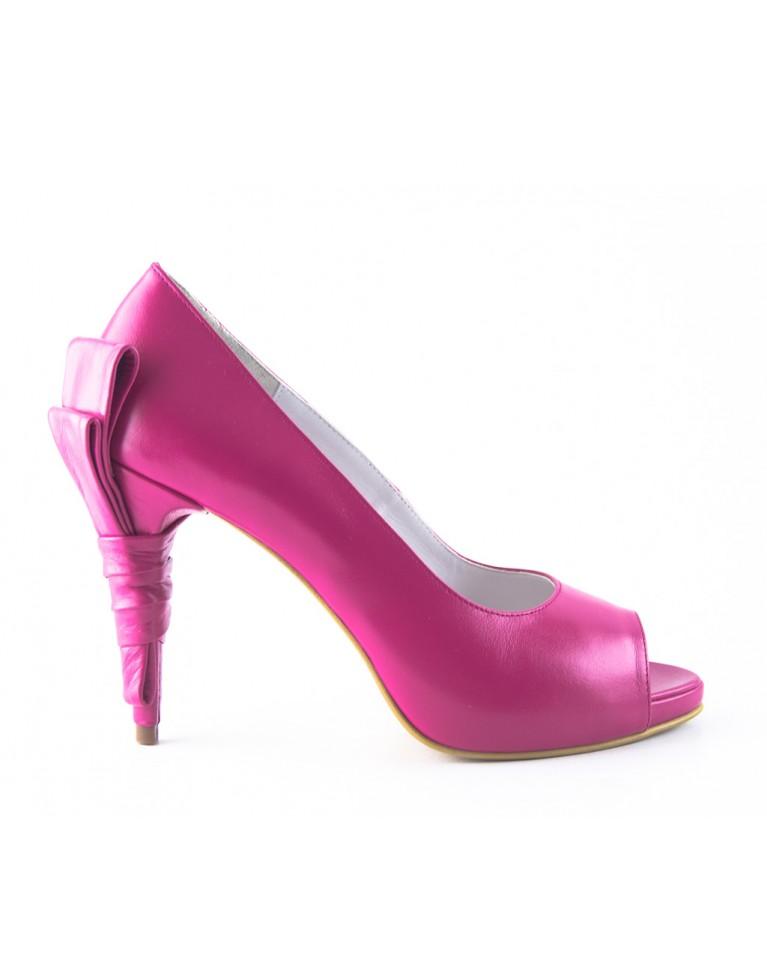 pantofi peep toe cu funda la spate fucsia