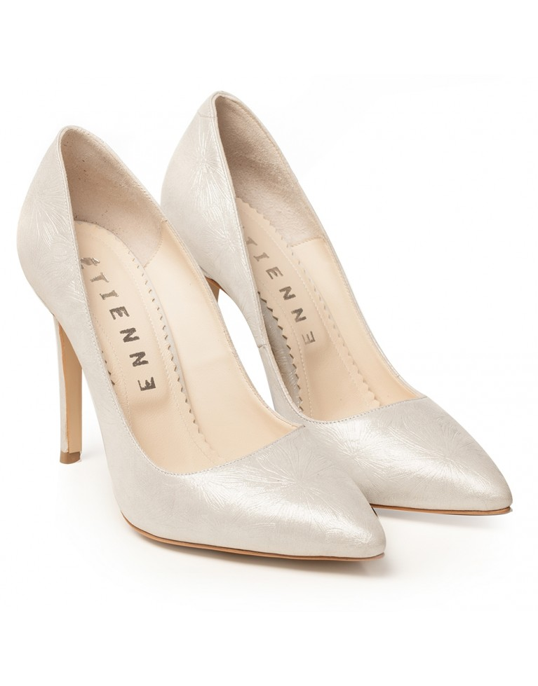 Pantofi stiletto argintii cu presaj floral Louise