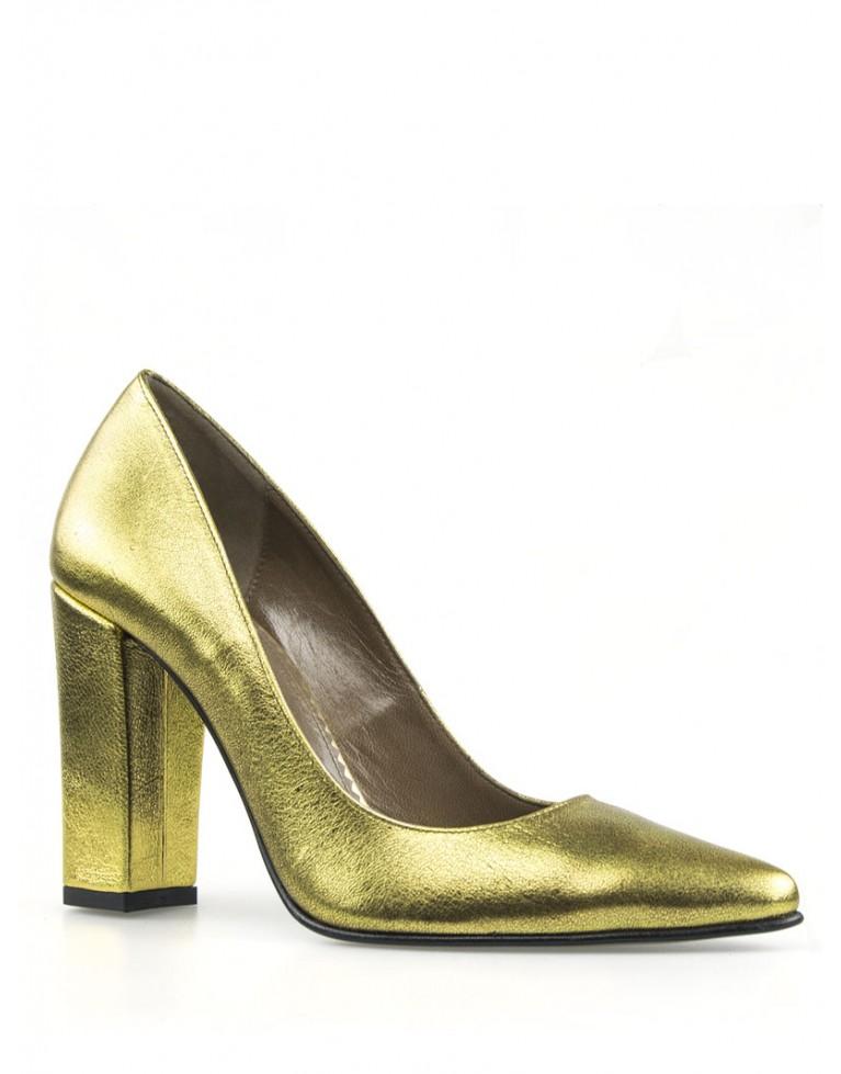 pantofi stiletto aurii cu toc gros
