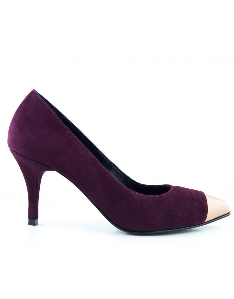 pantofi stiletto cu toc mic marsala