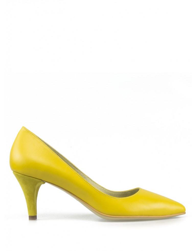 Pantofi dama stiletto galben cu toc mic 5cm