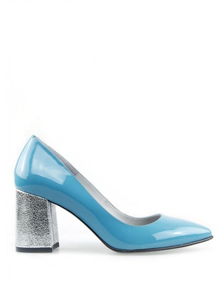 pantofi stiletto lac bleo cu toc gros 7cm