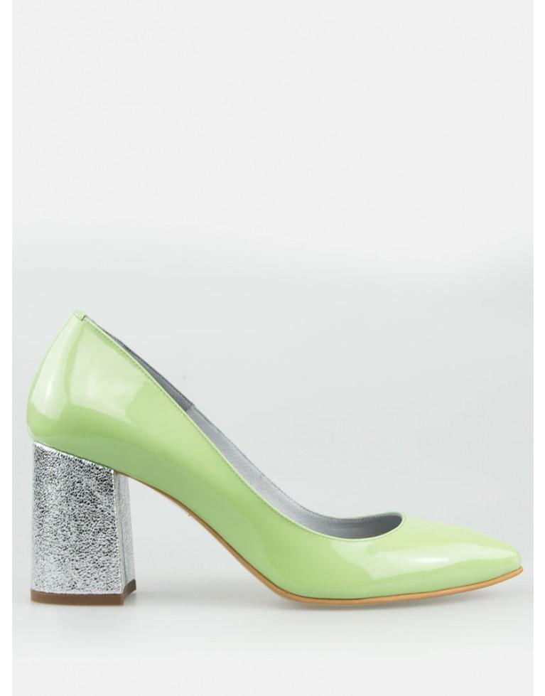 Pantofi stiletto lac verde pal cu toc gros 7cm Crystal