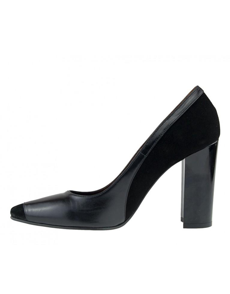 pantofi stiletto negri din piele intoarsa
