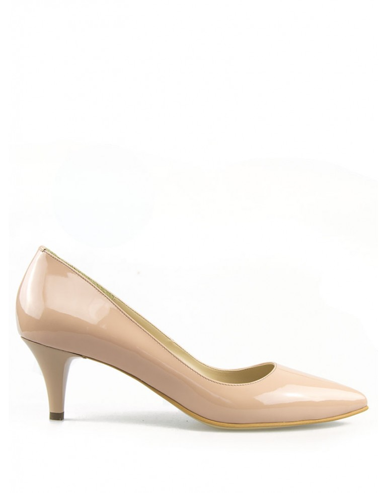 Pantofi dama stiletto lac nude cu toc mic 5cm