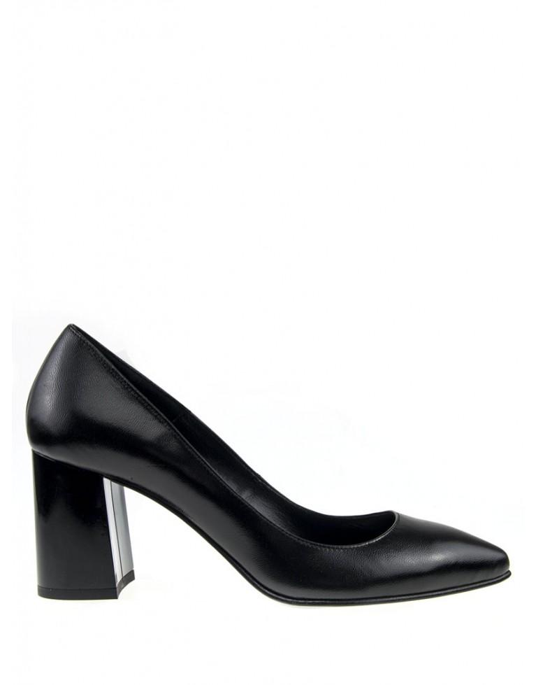 pantofi stiletto negri cu toc gros 7cm