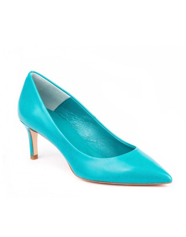 Pantofi dama stiletto turcoaz cu toc mic 5cm