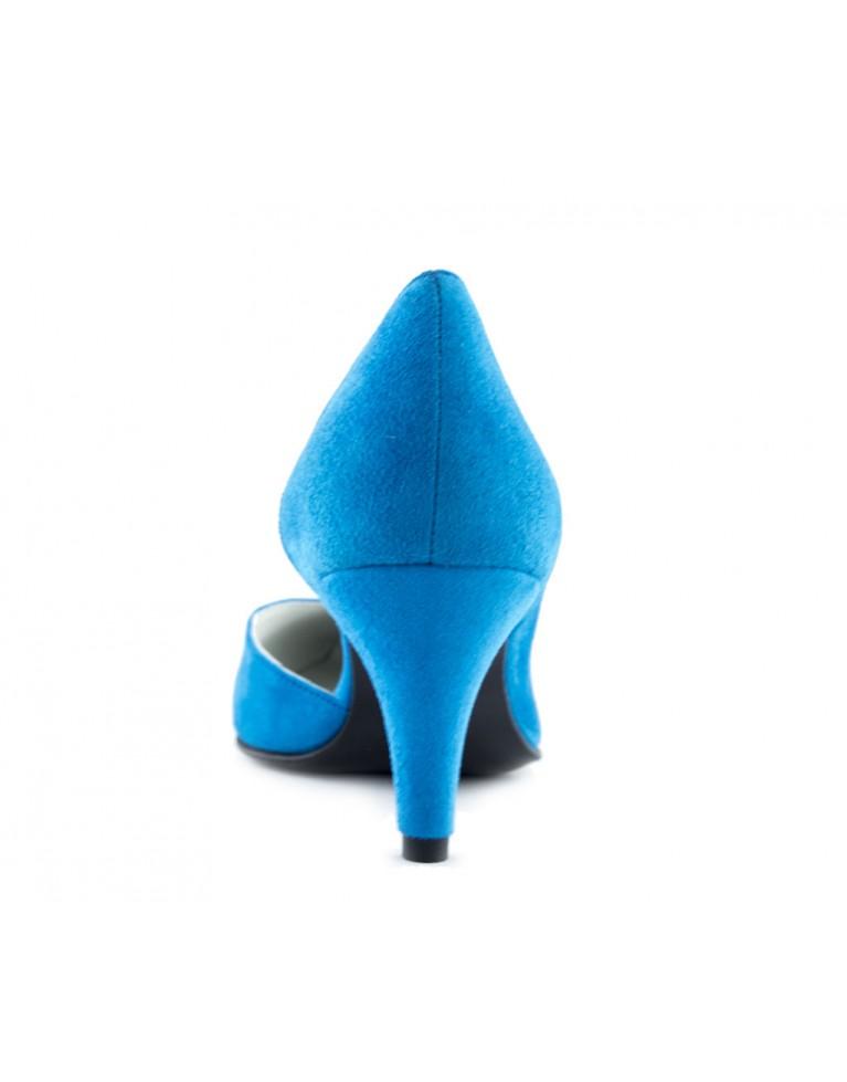 pantofi stiletto decupati piele intoarsa turcoaz