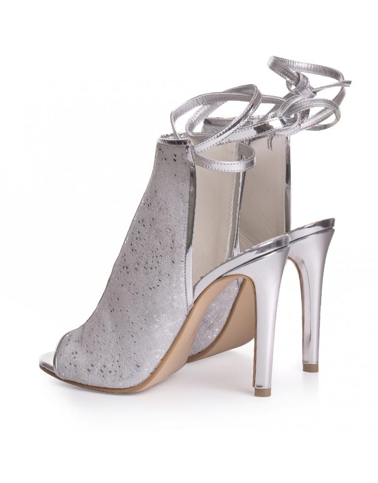 Sandale de mireasa albi cu textura dantela Fabienne