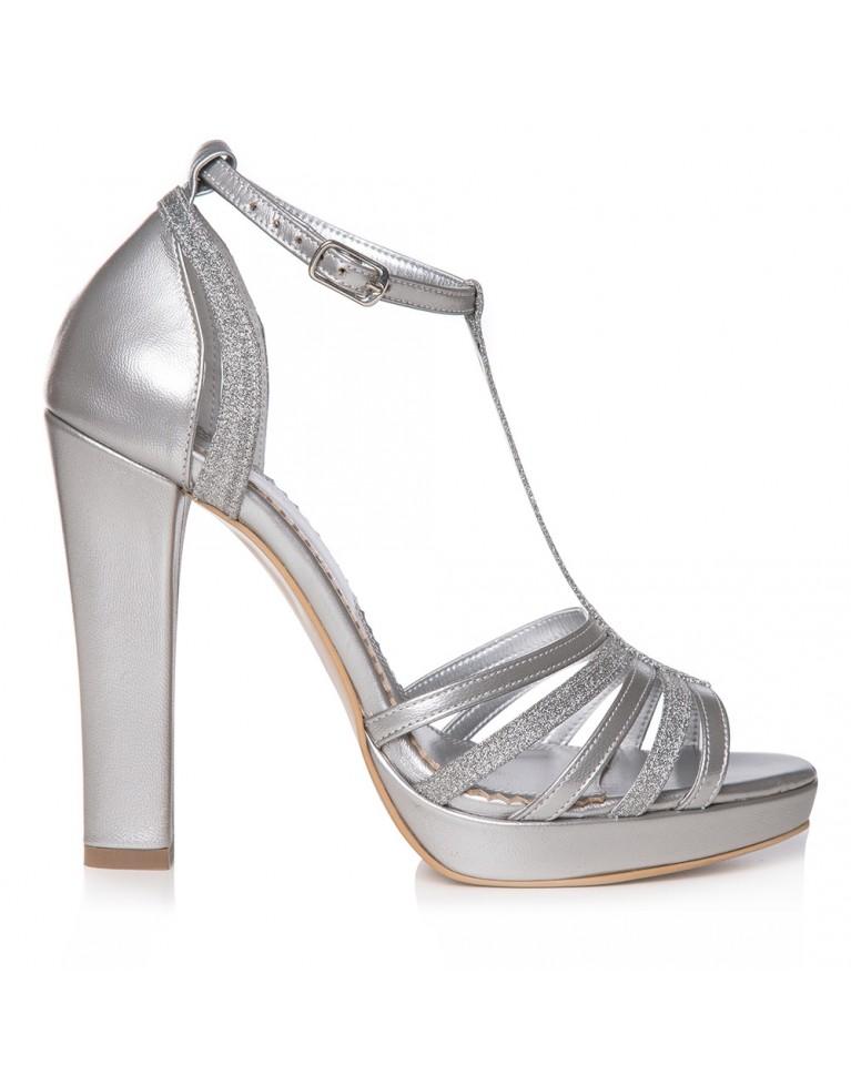 Sandale de mireasa argintii cu platforma Giselle
