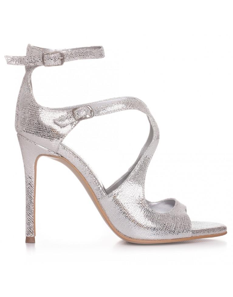Sandale de mireasa argintii Noelle 100mm