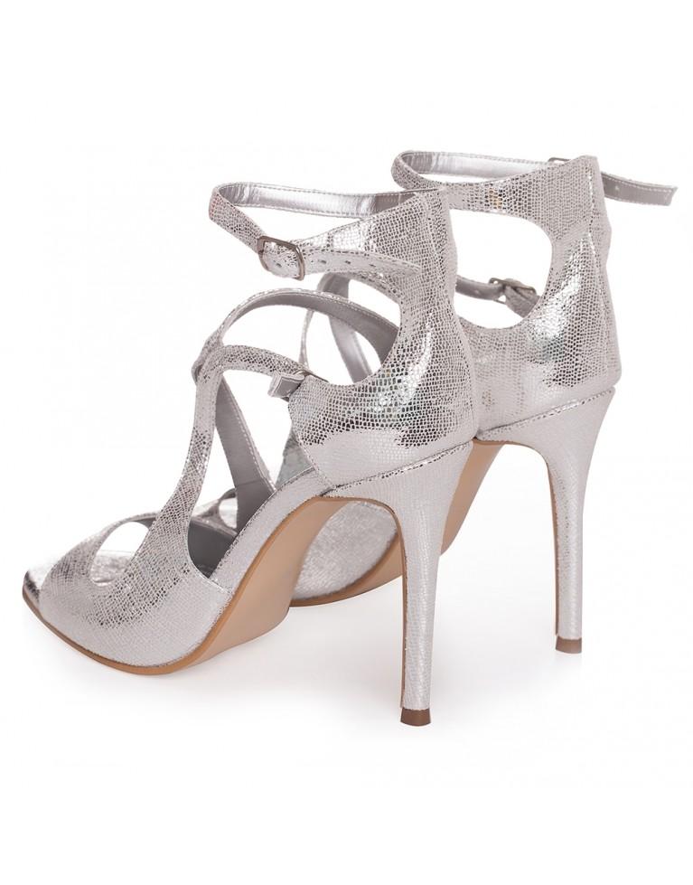 Sandale de ocazie argintii Noelle 100mm