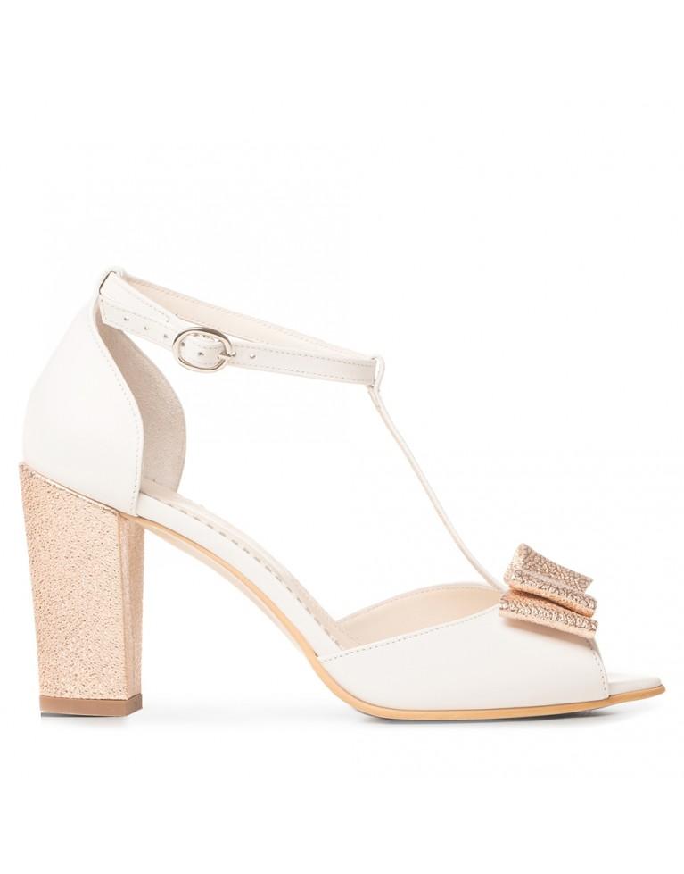 Sandale de mireasa albe cu toc gros si funda rose gold Chic