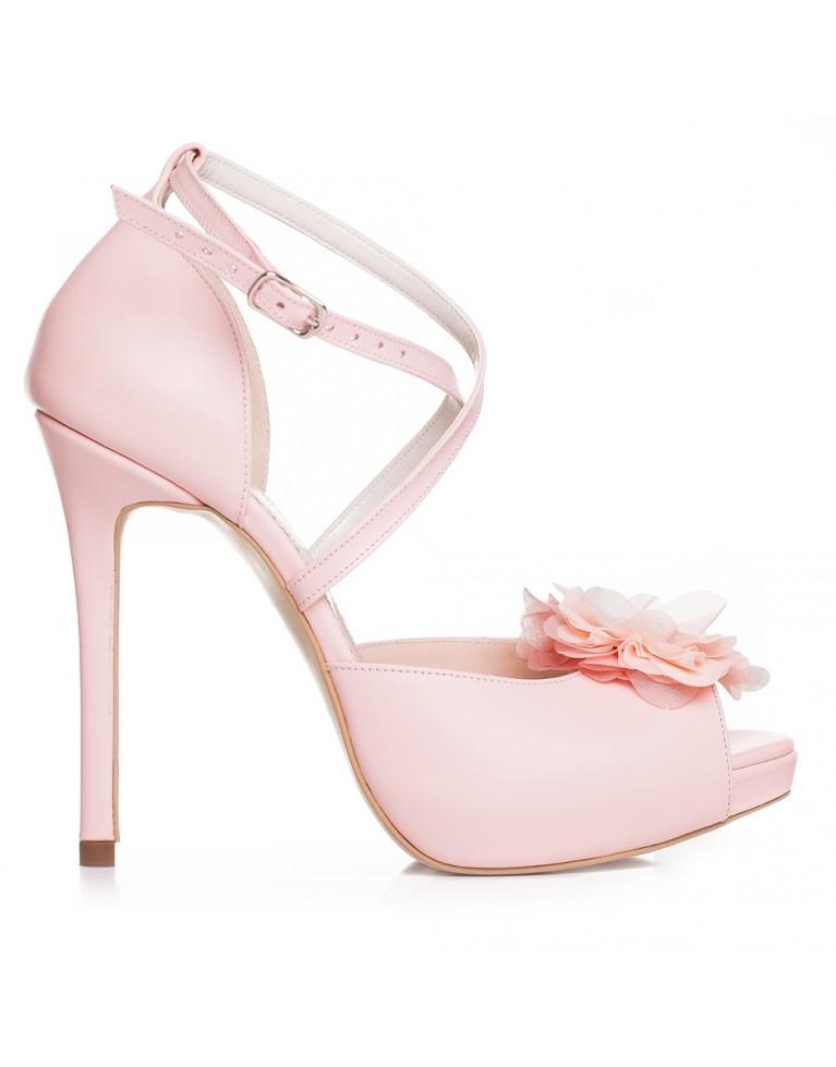 Sandale de mireasa cu platforma roz sidef accesorizati cu cristale Dennise