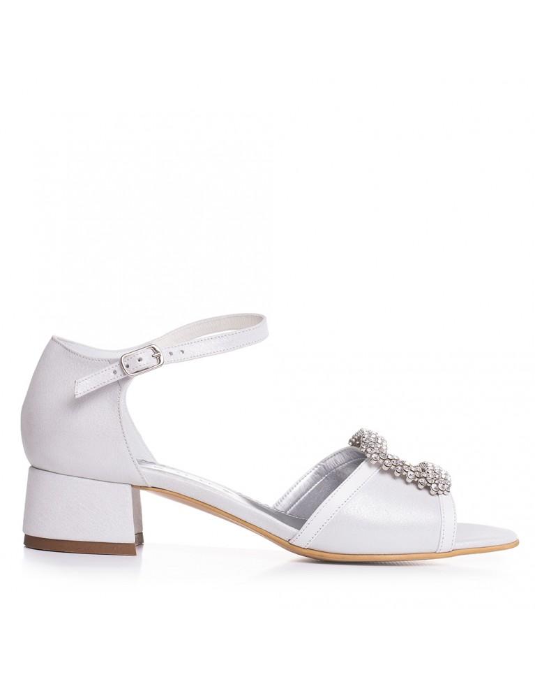 Sandale de mireasa cu toc mic accesorizate cu cristale Evony