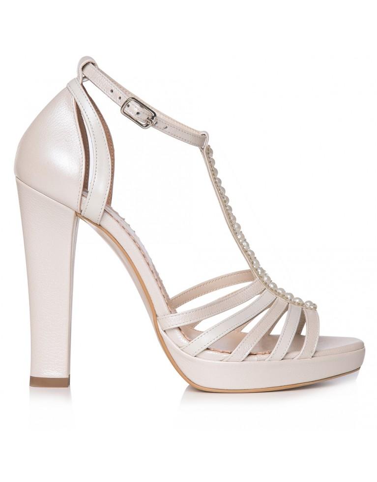 Sandale de mireasa ivory cu platforma Giselle