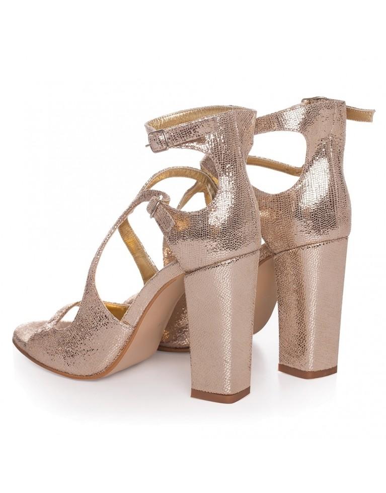 Sandale de ocazie aurii Noelle 100mm