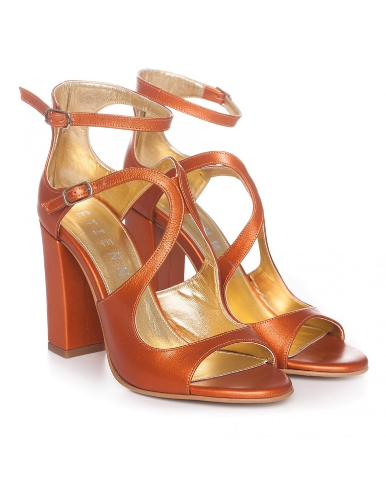 Sandale de ocazie portocalii Noelle 100mm
