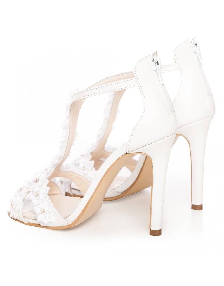 Sandale de mireasa albe Aurora Flower