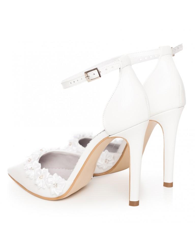 Sandale de mireasa albe cu bareta pe glezna Chloe FLOWER