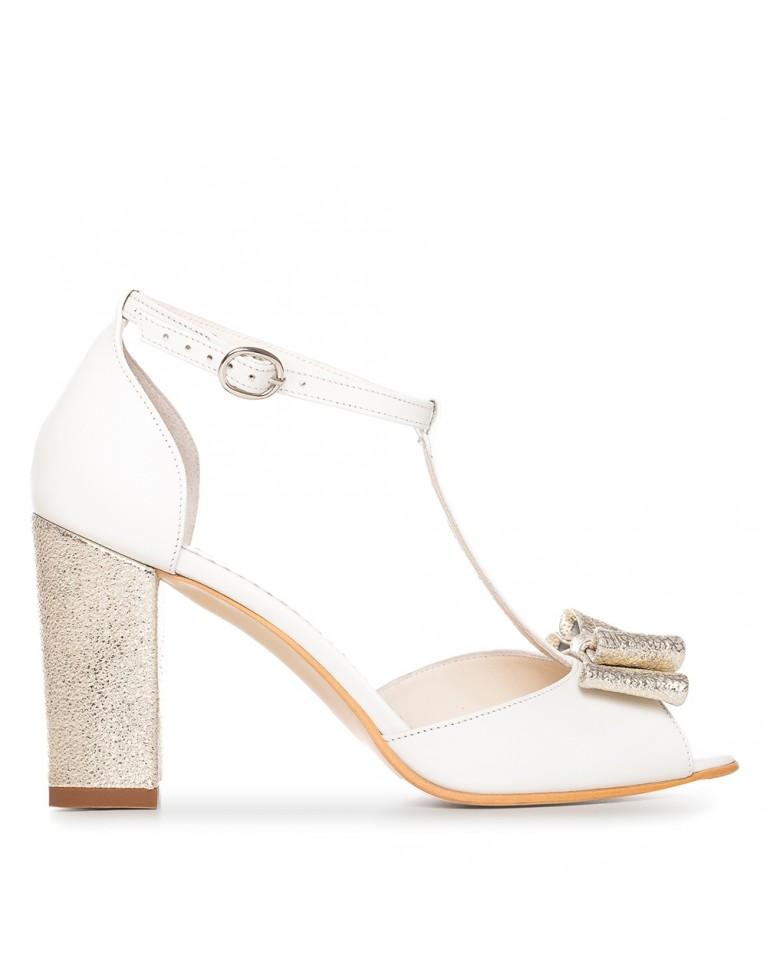 Sandale de mireasa albe cu toc gros si funda aurie Chic