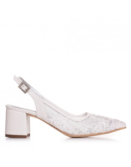 Pantofi de mireasa cu dantela cu toc mic 5m Anabelle