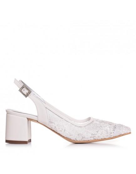 Pantofi de mireasa cu dantela cu toc mic 5 cm Anabelle