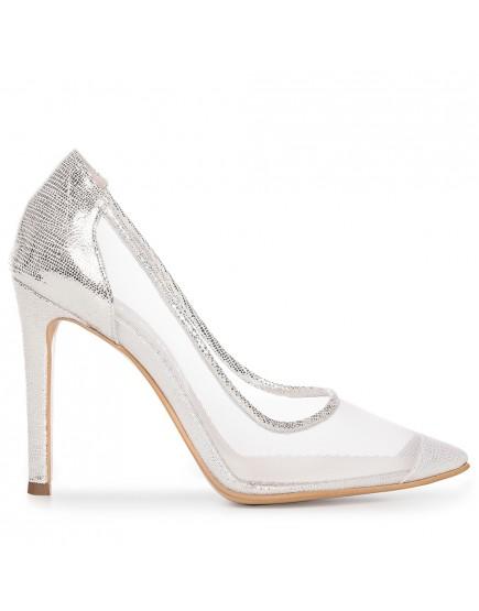 Pantofi stiletto argintii cu plasa Bliss