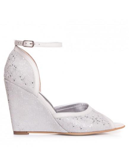 Sandale de mireasa albe print dantela cu talpa ortopedica Angelique