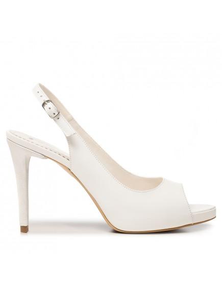 Pantofi de mireasa albi cu platforma si toc mediu Lucie