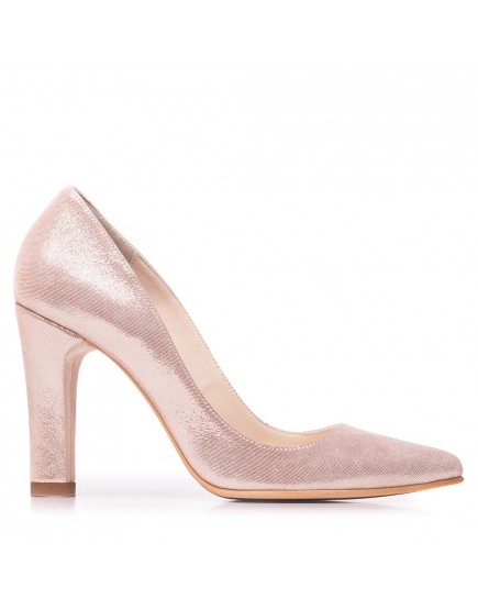 Pantofi stiletto roz pudra sidefat piele naturala Marie