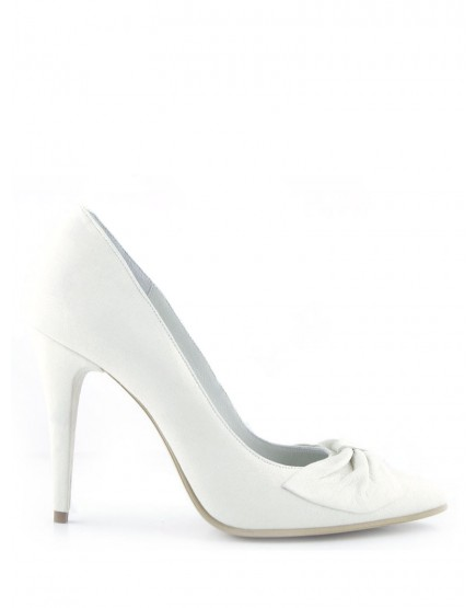 pantofi de mireasa albi cu funda