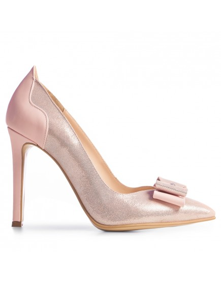 Pantofi stiletto roz pudra cu funda si cristal Briella