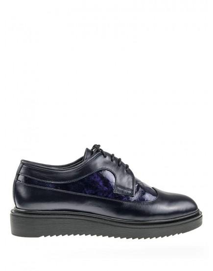 pantofi oxford de dama bleumarin cu talpa groasa