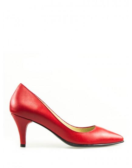 Pantofi dama stiletto rosii cu toc mic 5cm