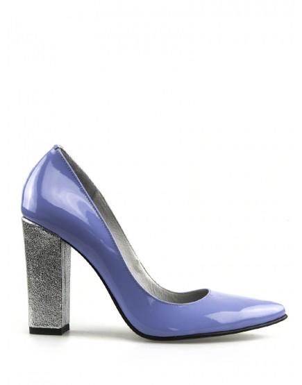 pantofi stiletto lac lila/mov cu toc gros argintiu