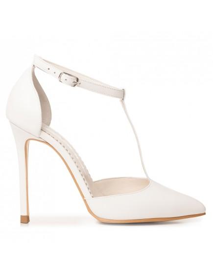 Sandale de mireasa albe cu toc inalt si bareta pe glezna Chloe 2