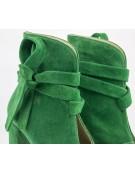 botine de dama decupate verde in fata cu fundita