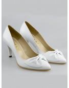 pantofi albi mireasa cu toc mic 7cm
