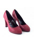 pantofi cu varf rotund si platforma rosii