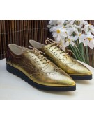 pantofi oxford aurii cu talpa groasa