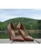 Pantofi stiletto decupati lateral maro cognac