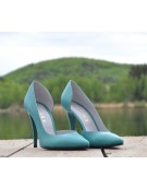 Pantofi stiletto decupati lateral turcoaz