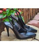 pantofi stiletto negri cu bareta la spate
