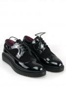 pantofi oxford de dama negri cu varf rotund nude