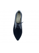 Pantofi cu talpa joasa negri din piele intoarsa