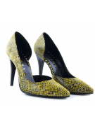Pantofi stiletto decupati lateral snake print