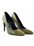 Pantofi stiletto snake prin galben negru