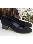 pantofi cu toc mic patrat negru piele intoarsa