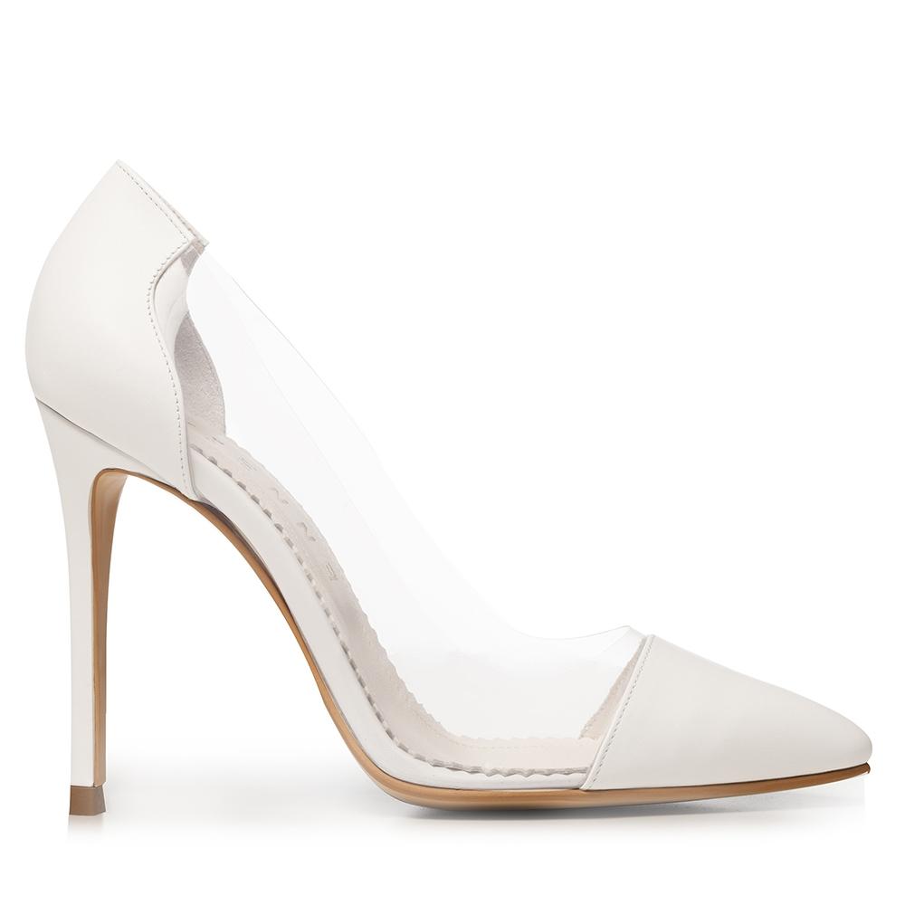 Pantofi Stiletto Albi Cu Material Transparent Plexi